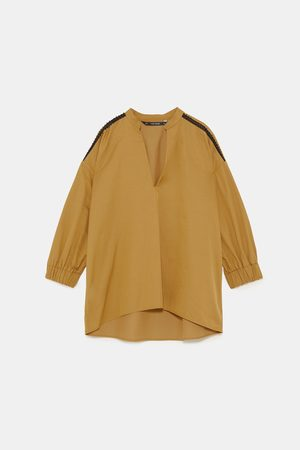 Zara POPLIN SHIRT WITH LACE TRIMS