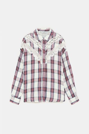 Zara CHECKED SHIRT WITH CONTRASTING LACE