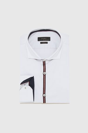 Zara TEXTURED WEAVE SHIRT WITH TAPING