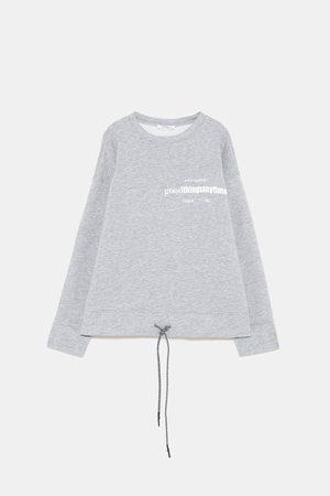 Zara Sweatshirts - SWEATSHIRT WITH SLOGAN AND DRAWSTRING