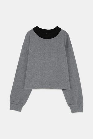 Zara CROPPED SWEATSHIRT WITH KNITTED COLLAR