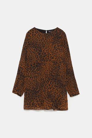 d7fc365307 Pleated animal print playsuit dress