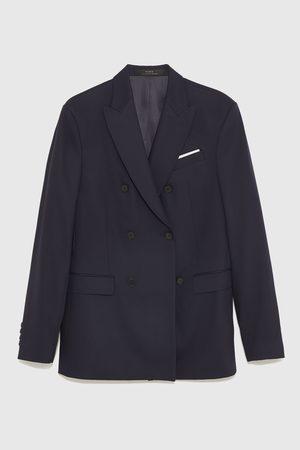 Zara Double-breasted chintz comfort suit blazer