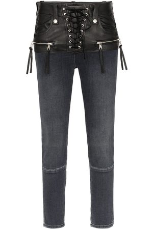 7098f50b867ad Unravel Project Stonewash lace up skinny jeans .