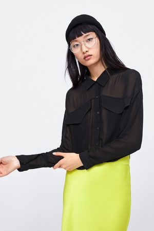 Zara Semi-sheer cropped shirt