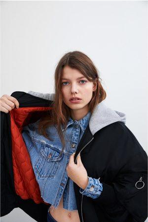 Zara Women Bomber Jackets - Bomber jacket with contrast hood