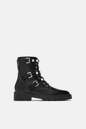 Zara Women Ankle Boots - Leather ankle boots with faux pearls