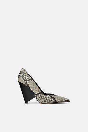 Zara Women Heels - Animal print asymmetric high-heel shoes