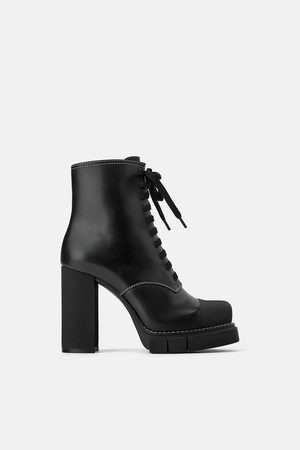 Zara Women Ankle Boots - High heel leather ankle boots with track sole