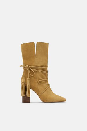 Zara Women Ankle Boots - Leather heeled ankle boots with tied detail