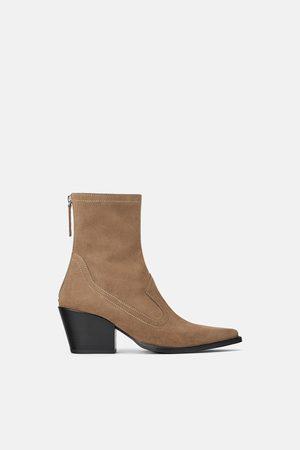 Zara Women Cowboy & Biker Boots - Split suede cowboy heel ankle boots