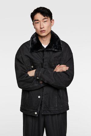 Zara Denim jacket with contrast faux shearling