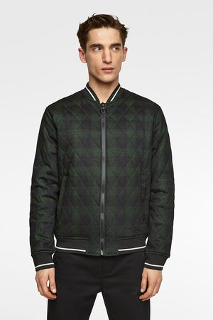 Zara Men Bomber Jackets - Quilted checked bomber jacket