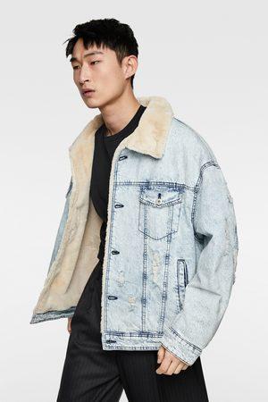 Zara Men Denim Jackets - Denim jacket with contrast faux shearling