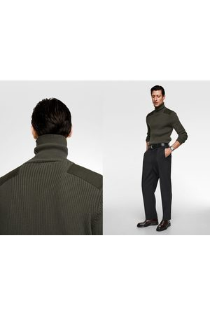 Zara Men Jumpers - Knit turtleneck sweater with appliqués