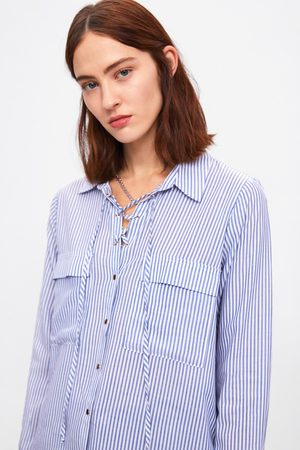 Zara Women Shirts - Striped shirt with bow