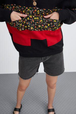 Zara Floral panel sweatshirt with pockets