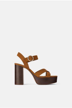 Zara Wooden platform high heel sandals