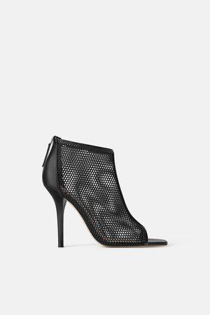 Zara Wraparound mesh high heel sandals