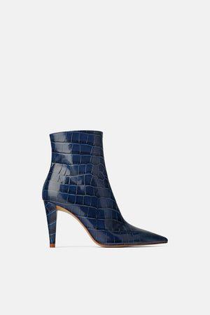 Zara Snakeskin print leather high-heel ankle boots