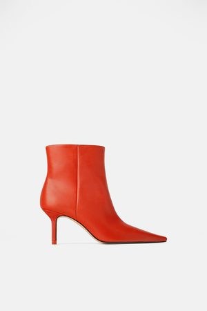 Zara Leather high heel gaucho ankle boots