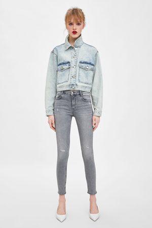 Zara Ripped mid-rise sculpt jeans
