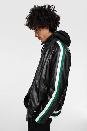 Zara Faux leather bomber jacket with taping