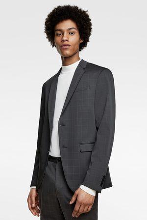 Zara Check technical suit blazer