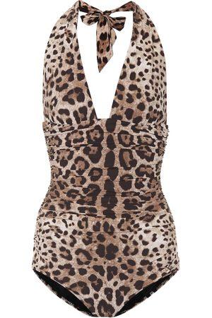 Dolce & Gabbana Leopard-printed one-piece swimsuit