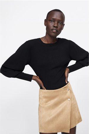 Zara Women Skorts - Faux suede bermuda skort