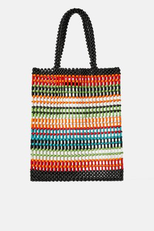 Zara Women Tote Bags - Multicoloured beaded tote bag