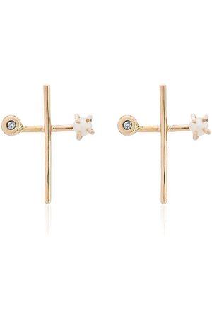 MELISSA JOY MANNING Diamond and pearl cross earrings