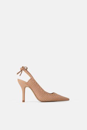 Zara Plaited high heel slingback shoes with bow