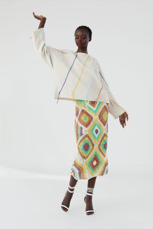 Zara Embroidered knit sweatshirt with fringing