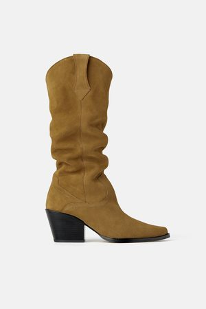 Zara Women Cowboy & Biker Boots - Join life split suede heeled cowboy boots