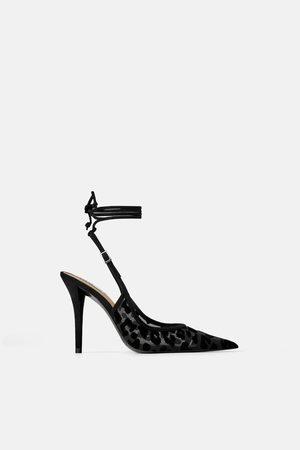 Zara Women Heels - Animal print slingback velvet high-heel shoes
