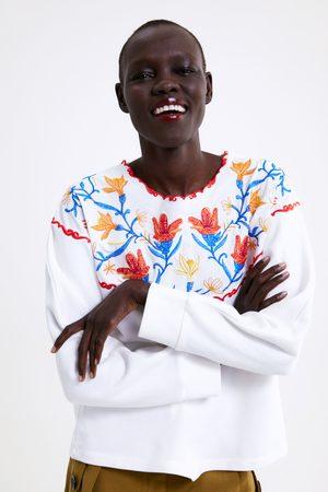 Zara Women Sweatshirts - Embroidered oversized sweatshirt