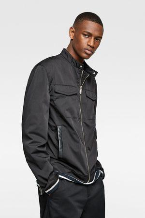 Zara Men Leather Jackets - Contrast faux leather jacket