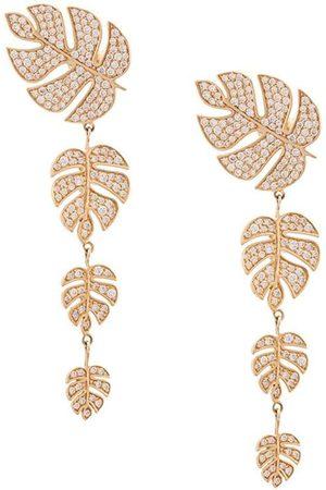 Sydney Evan 14kt yellow Monstera leaf diamond drop earrings