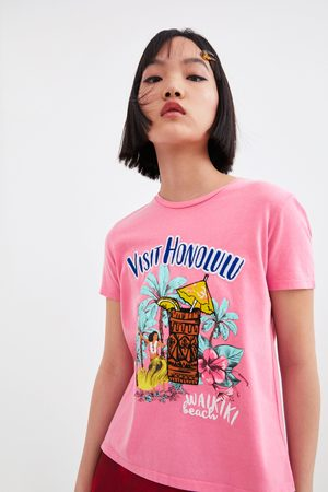 Zara Embroidered faded-effect t-shirt