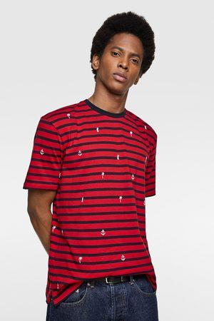 Zara Men T-shirts - T-shirt with nautical embroidery
