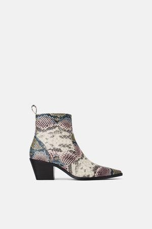 Zara Women Cowboy & Biker Boots - Animal print cowboy ankle boots