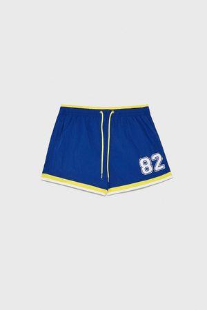 Zara Number swimming trunks