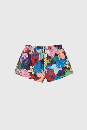 Zara Tropical print swimming trunks