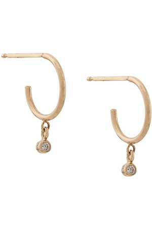 Zoe Chicco Women Earrings - 14kt yellow drop diamond bezel set huggie earrings