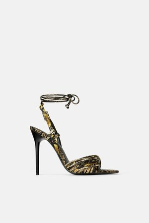 Zara High-heel sandals with animal print straps