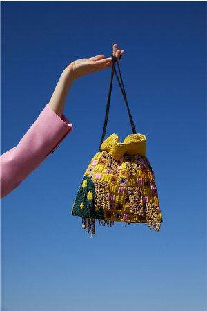 Zara Women Shoulder Bags - Beaded crossbody bucket bag