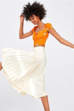 Zara Pleated satin finish skirt