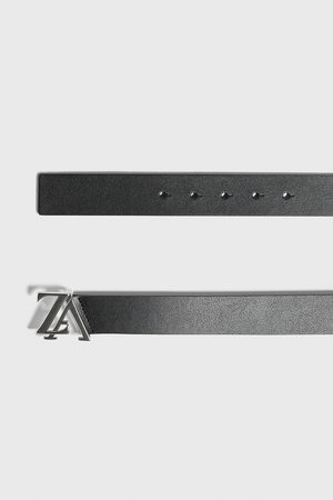 Zara Leather belt with logo buckle