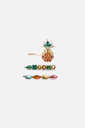Zara Women Hair Accessories - Pack of pineapple rhinestone hair clips